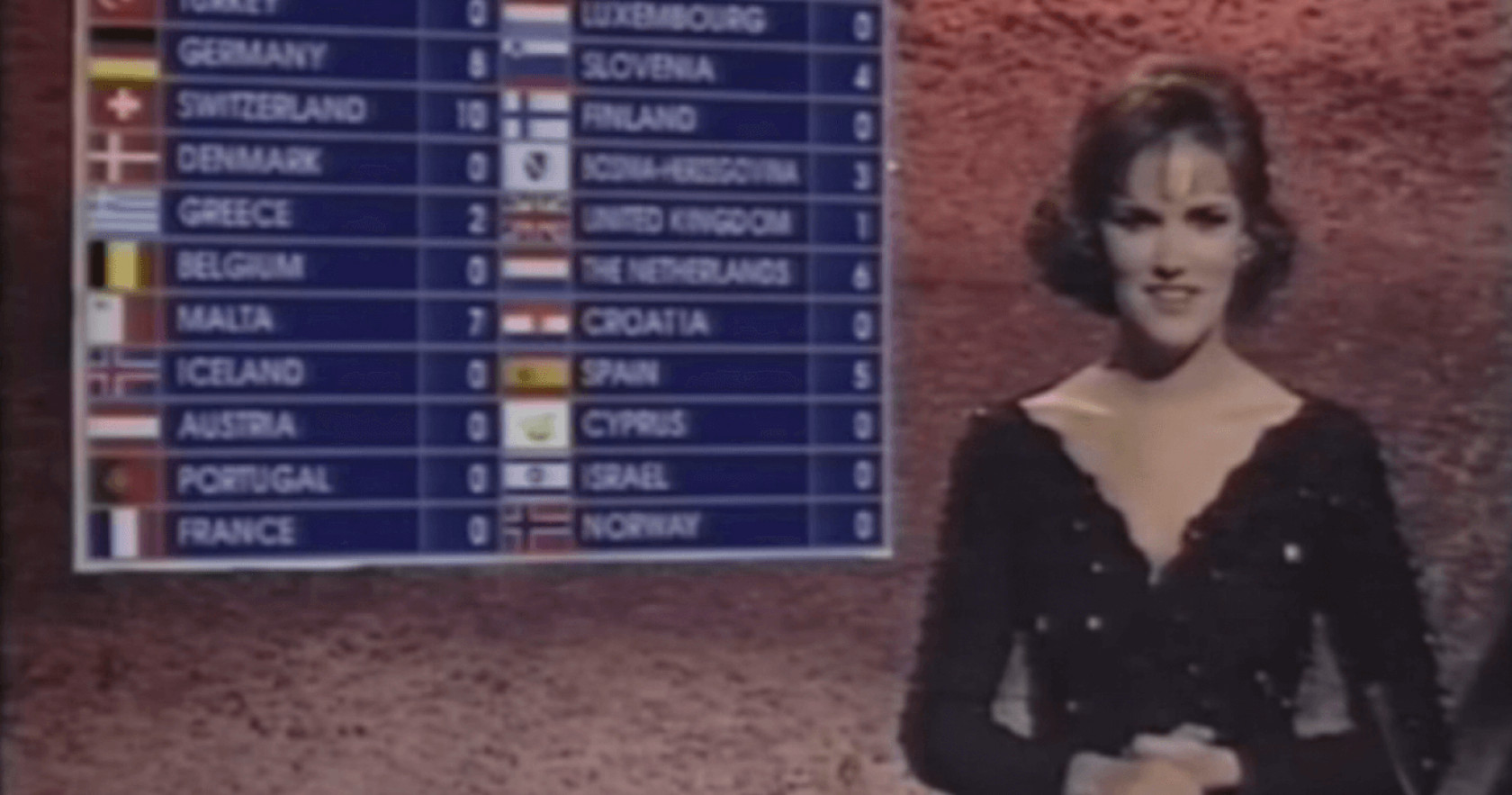 Fionnuala Sweeney presenting the 1993 Eurovision Song Contest