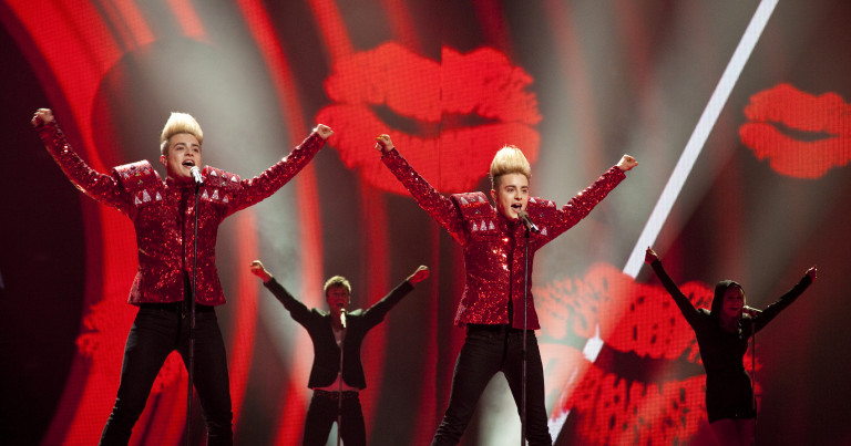 Jedward came 8th with their song 'Lipstick' in 2011