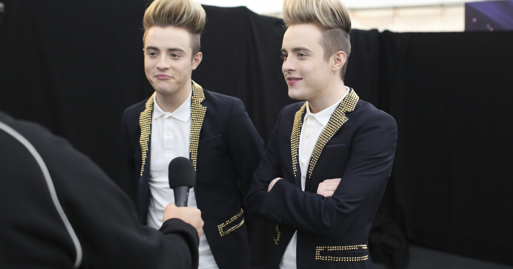 Jedward, talking to Eurovision.tv in Copenhagen in 2015.