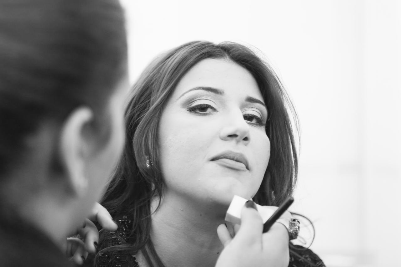 Amber from Malta getting ready backstage.