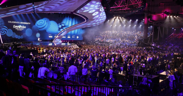 At the start of the first Semi-Final of the 2017 Eurovision Song Contest.