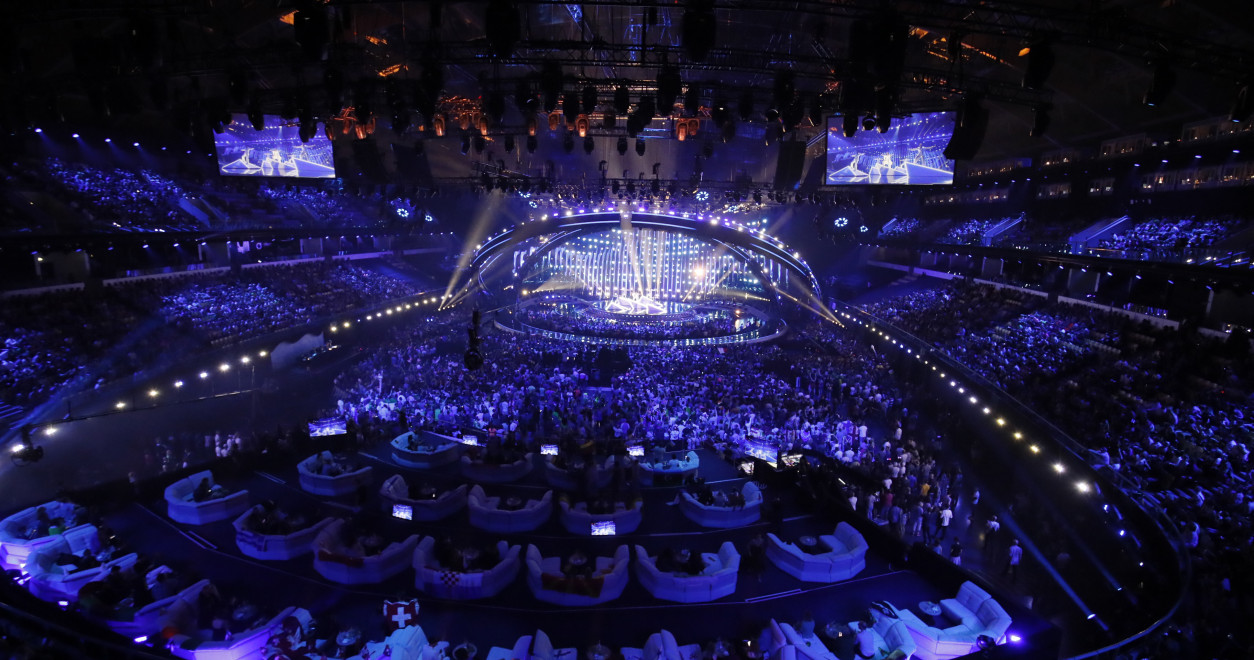 In the arena during the first Semi-Final of the 2018 Eurovision Song Contest.