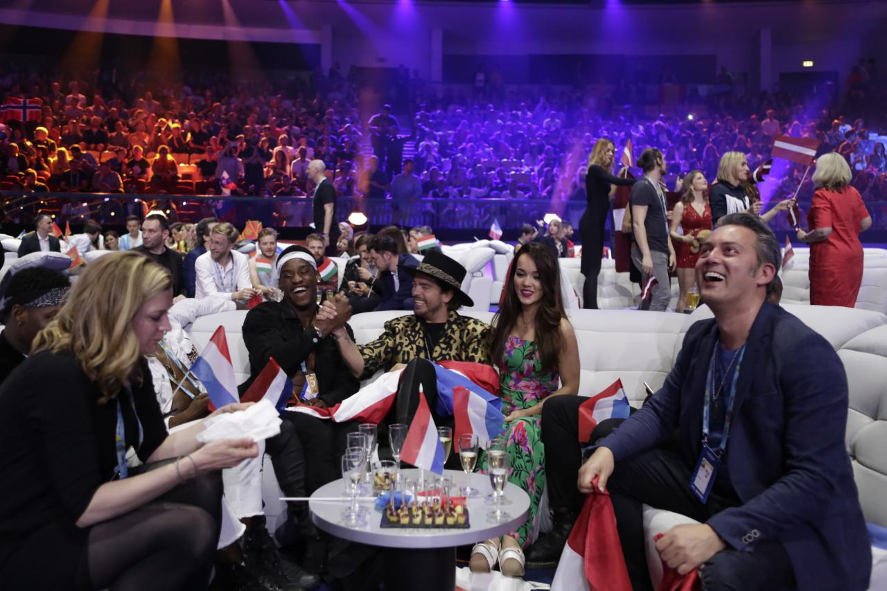In the green room during the second Semi-Final of the 2018 Eurovision Song Contest.