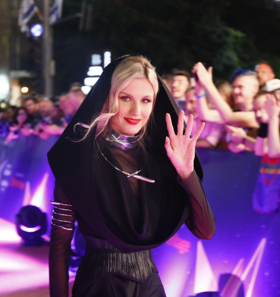 Nevena Božović (Serbia 2019) arriving at the Orange Carpet for the Opening Ceremony in Tel Aviv.