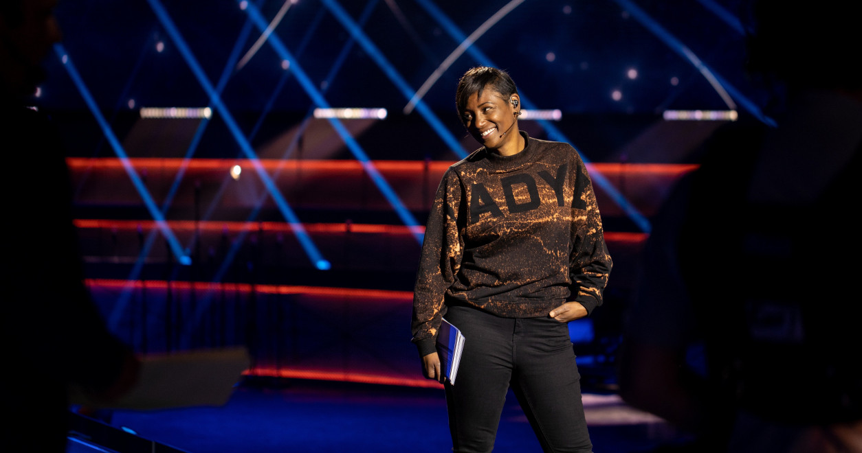 Edsilia Rombley presenter Eurovision: Europe Shine A Light (Friday 15 May)